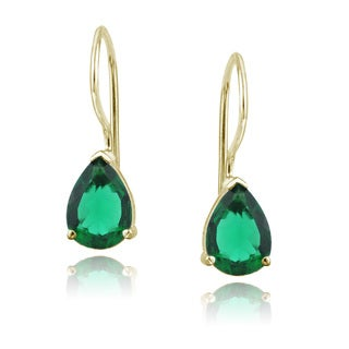 Glitzy Rocks 18k Gold Over Sterling Silver Created Emerald Teardrop Earrings