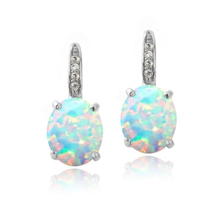 Glitzy Rocks Sterling Silver Created Opal and Diamond Accent Leverback Earrings
