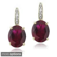 Glitzy Rocks Sterling Silver Created Gemstone and Diamond Accent Leverback Earrings