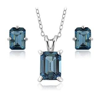 Glitzy Rocks Sterling Silver 4.3ct TGW London Blue Topaz Emerald-cut Necklace and Earrings Set