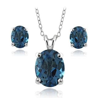 Glitzy Rocks Sterling Silver 4.2ct TGW London Blue Topaz Oval Solitaire Necklace and Earrings Set