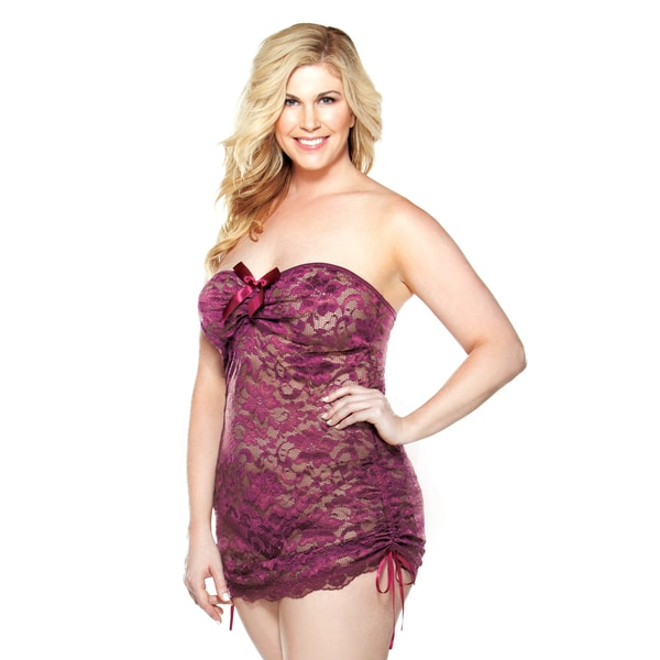 Fantasy Lingerie Women\'s Plus-size Eggplant Lace Strapless Mini Dress and  Matching G-String