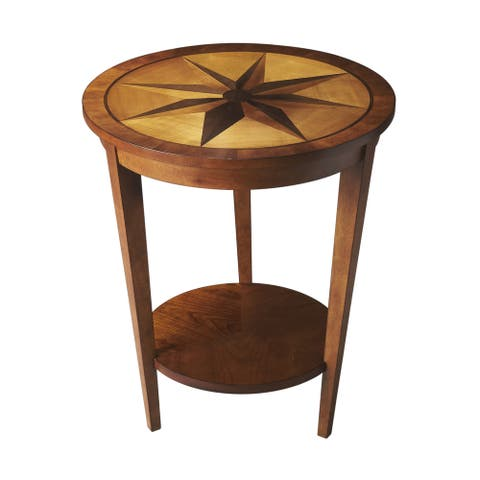 Butler Transitional Crafted Wooden Accent Table in Honey Finish