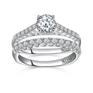 Valina Designer 14k White Gold Pave 1 1/2ct TDW Diamond Bridal Set