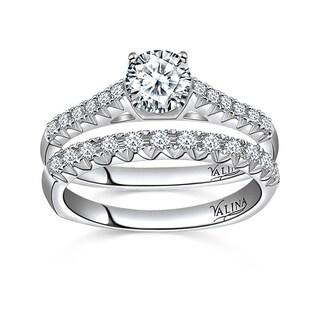 Valina Designer 14k White Gold Pave 1 1/2ct TDW Diamond Bridal Set