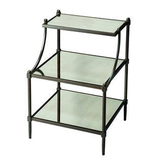 Mirrored Side Table with Shelves