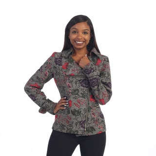 Hadari Women's Contemporary Grey Floral Slant Zipper Jacket