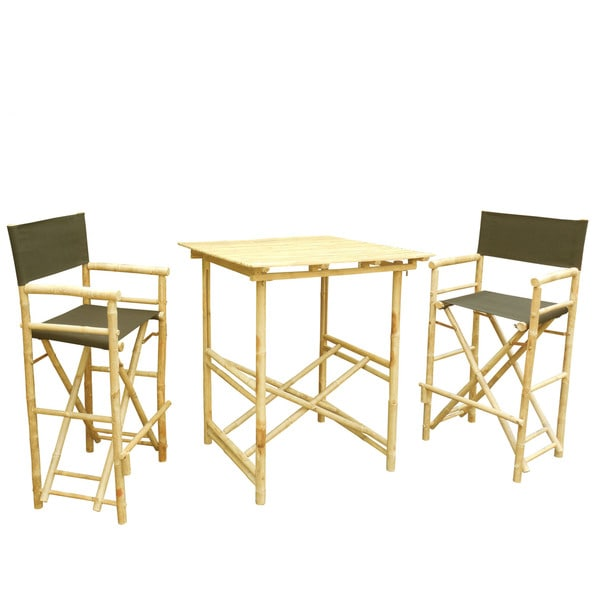 Phat Tommy Tall Foldable Bistro Square Table 3 Piece Dining Set