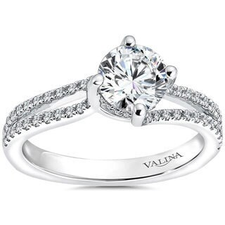 Valina 14k White Gold Round-cut 1 1/12ct White Diamond Bridal Ring Set