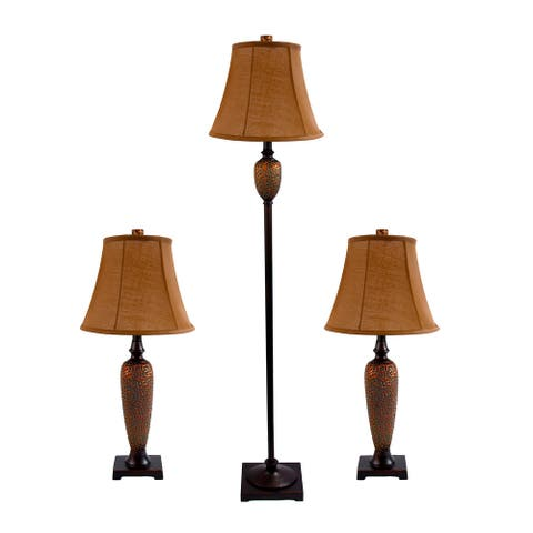 Copper Grove Delta Hammered Bronze Lamp Set (2 Table Lamps, 1 Floor Lamp)