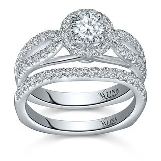 Valina 14k White Gold 1 1/6ct TDW Round-cut White Diamond Bridal Ring Set