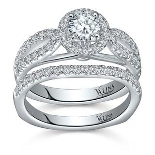 Valina 14k White Gold 1 1/6ct TDW Round-cut White Diamond Bridal Ring Set