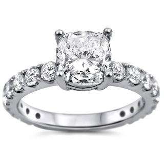 Noori 18k White Gold 1 4/5ct TDW Cushion-cut Clarity-enhanced Diamond Engagement Ring