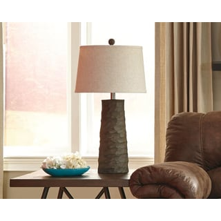 Signature Design by Ashley Sinda Wood Finish Table Lamp (Set of 2)