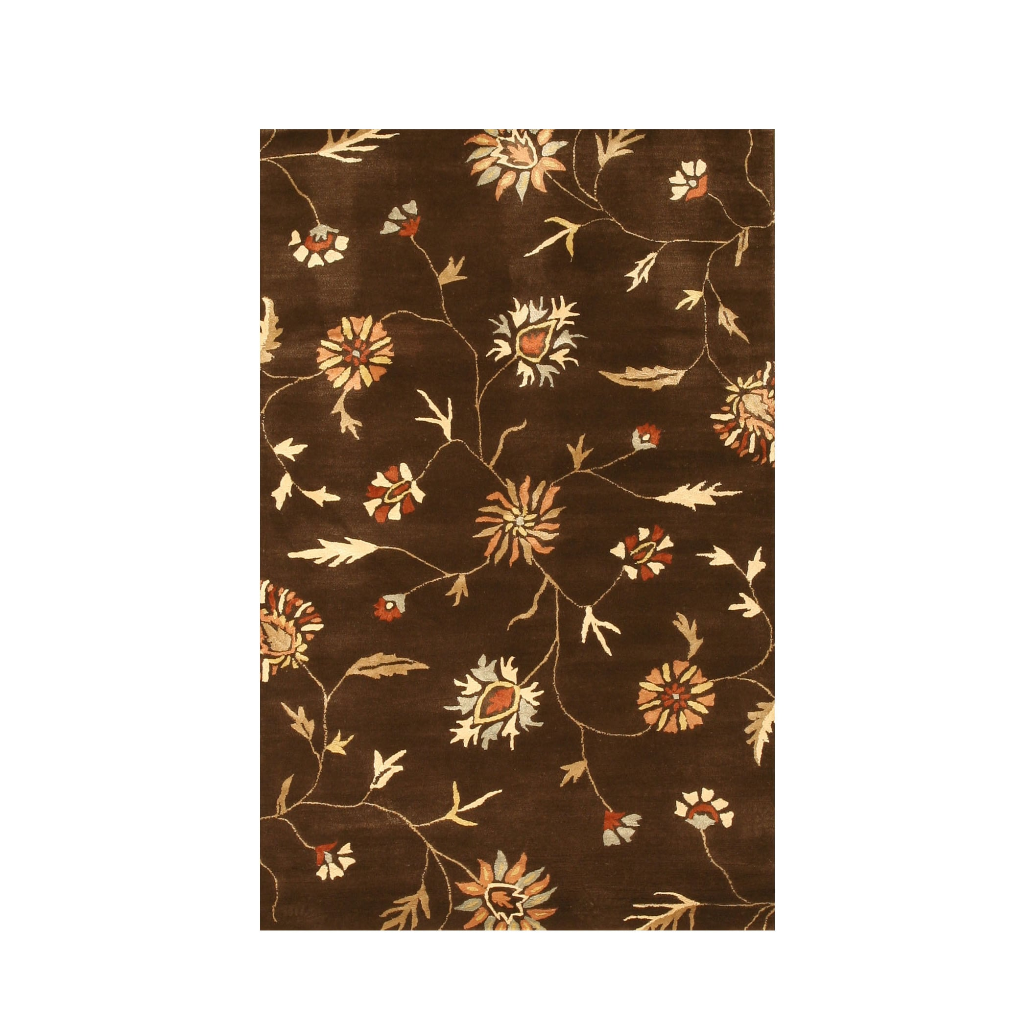 EORC Hand-tufted Wool & Viscose Brown Transitional Floral...