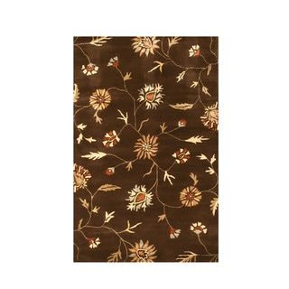 Hand-tufted Wool & Viscose Brown Transitional Floral Modern Floral Rug (7'9 x 9'9)