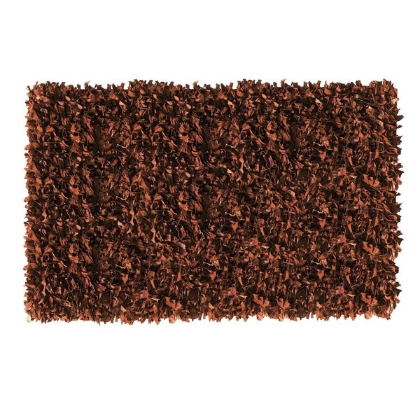 Leather Shaggy Brown Area Rug (5' x 8 ') - 5' x 8 '