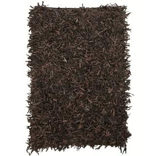 Leather Shaggy Dark brown Area Rug (5' x 8 ')