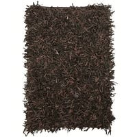 Leather Shaggy Dark brown Area Rug - 5' x 8 '