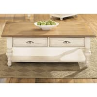 Ocean Isle Bisque and Natural Pine Rectangular Cocktail Table