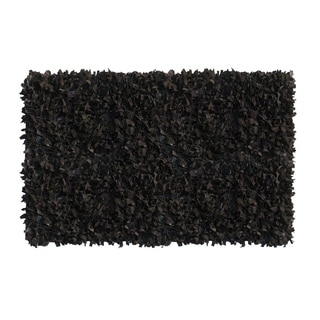 Leather Shaggy Black Area Rug (5' x 8 ')