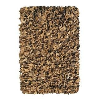 Leather Shaggy Tan Area Rug (3.6' x 5.6 ')