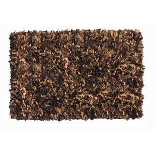 Leather Shaggy Brown Tan Area Rug (3.6' x 5.6 ')