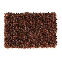 Leather Shaggy Brown Area Rug - 3'6 x 5'6