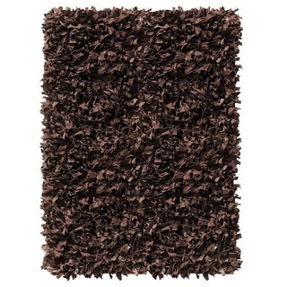 Leather Shaggy  Dark brown Area Rug (3.6' x 5.6 ')