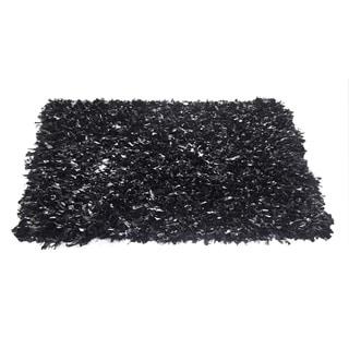 Leather Shagg Black Area Rug (3.6' x 5.6 ')