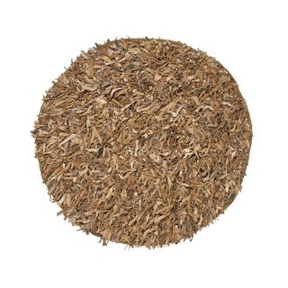 Leather Shaggy Round Tan Area Rug (4.9' Round)