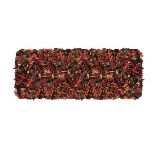 Leather Shaggy Multi Runner Rug (2' x 6 ')
