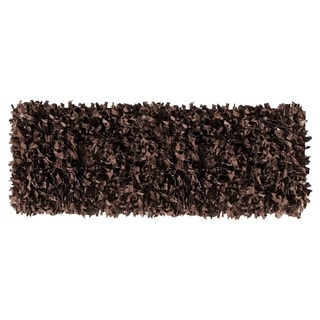 Leather Shaggy Dark Brown Runner Rug (2' x 6')