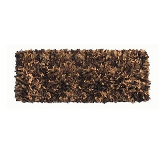 Leather Shaggy Brown Tan Runner Rug (2' x 6')