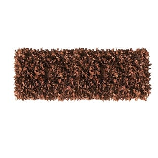 Leather Shagg Brown Area Rug (2' x 6 ')