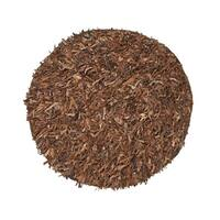 Leather Shaggy Round Brown Area Rug - 4.9'
