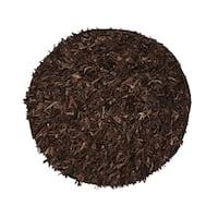Leather Shaggy Round  Dark brown Area Rug (4.9' Round) - 4.9'