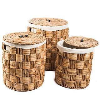 Handmade Set of 3 Water Hyacinth Prismatic Hamper Baskets (Vietnam)