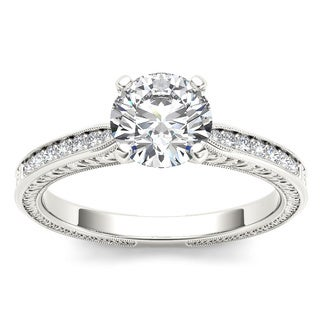 De Couer 14k White Gold 1ct TDW Diamond Solitaire Engagement Ring (H-I, I2)
