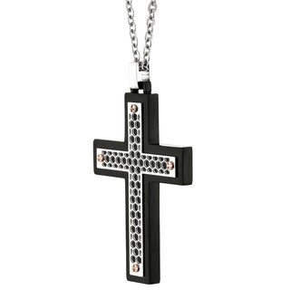 Stainless Steel Cut-out Cross Pendant with Cable Chain