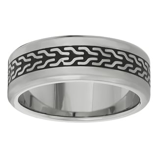 Stainless Steel Black Ion-plated Tire Pattern Ring