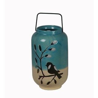 Birds on Branch Blue/ Beige Ceramic Jar