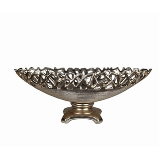 Large Silvertone Metallic Bowl on Stand