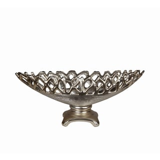 Small Silvertone Metallic Bowl on Stand