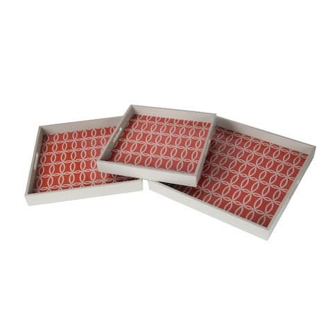 Beige/ Red 3-piece Wooden Tray Set