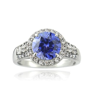 Icz Stonez Sterling Silver 2 2/5ct TGW Violet Blue Cubic Zirconia Halo Ring