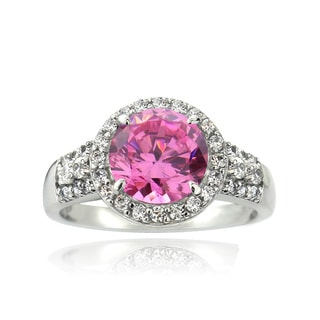 Icz Stonez Sterling Silver 2 2/5ct TGW Pink Cubic Zirconia Halo Ring