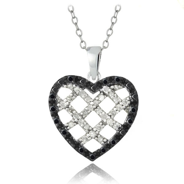 DB Designs Sterling Silver 1/2ct TDW Blue or Black and White Diamond Heart Necklace