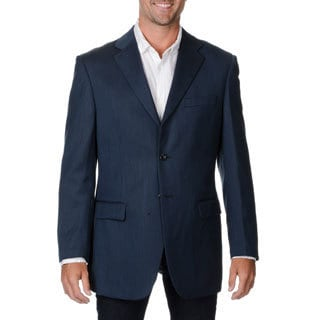 Prontomoda Italia Men's Navy Wool/ Silk Sportcoat