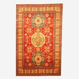 Herat Oriental Afghan Hand-knotted Tribal Kazak Red/ Tan Wool Rug (6'6 x 9'11)